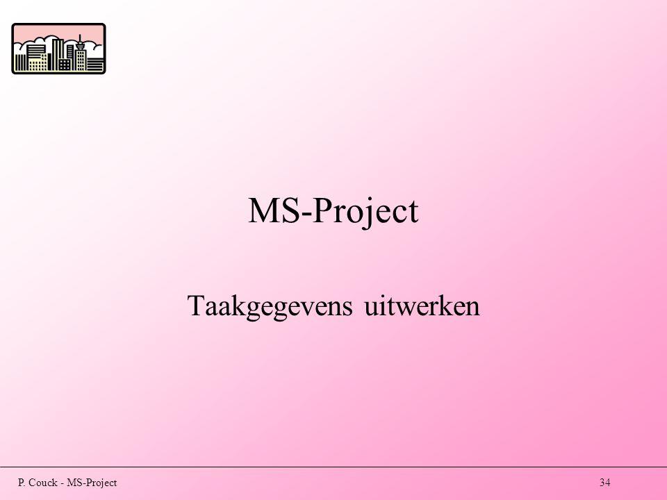 P. Couck - MS-Project34 MS-Project Taakgegevens uitwerken