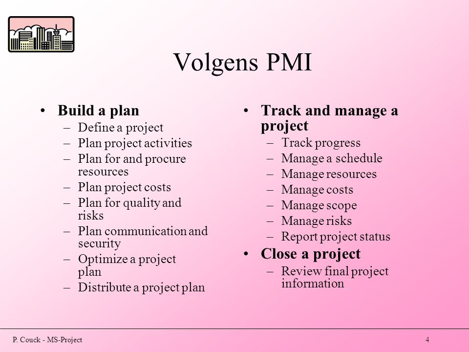 P. Couck - MS-Project4 Volgens PMI Build a plan –Define a project –Plan project activities –Plan for and procure resources –Plan project costs –Plan f