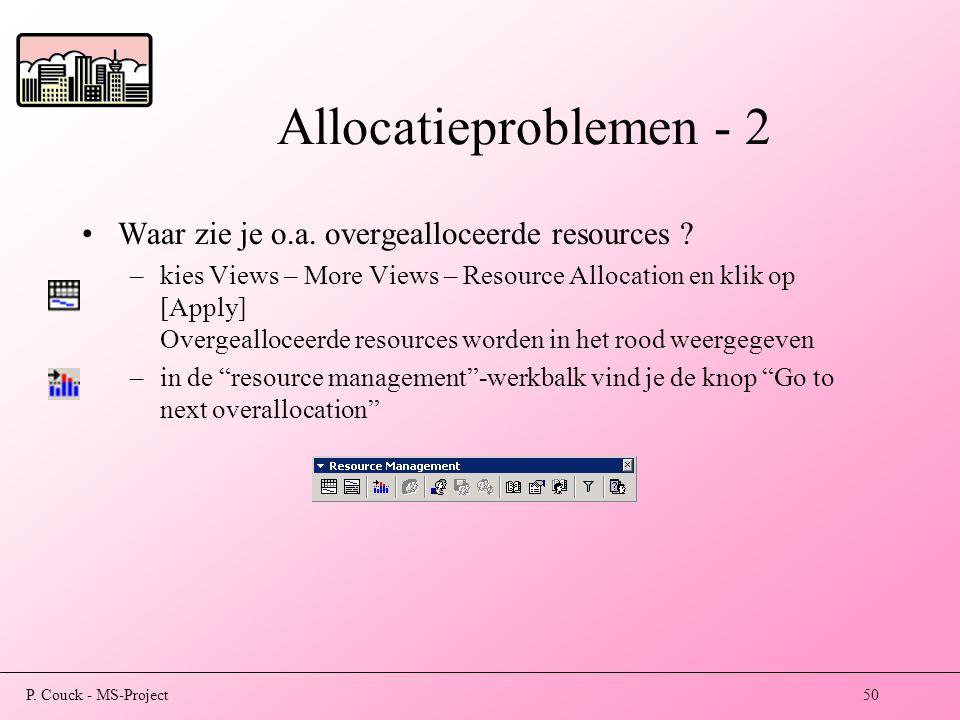 P.Couck - MS-Project50 Allocatieproblemen - 2 Waar zie je o.a.