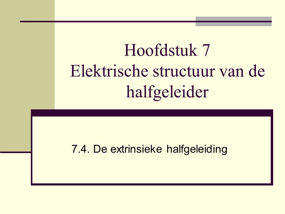 Hoofdstuk 7 Elektrische structuur van de halfgeleider 7.4. De extrinsieke halfgeleiding