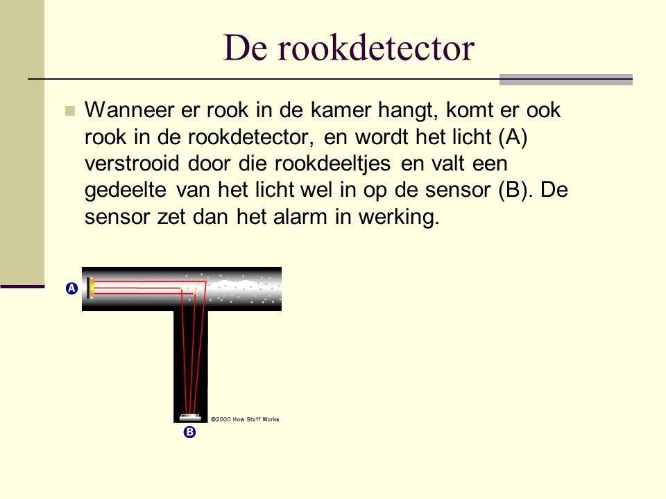De rookdetector Wanneer er rook in de kamer hangt, komt er ook rook in de rookdetector, en wordt het licht (A) verstrooid door die rookdeeltjes en val