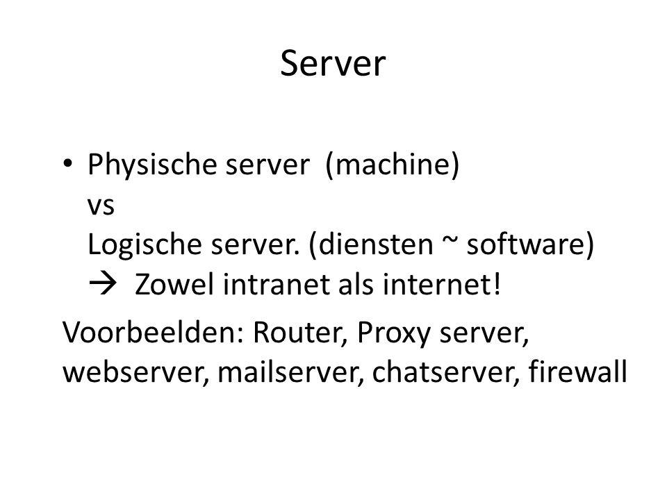 Server Physische server (machine) vs Logische server. (diensten ~ software)  Zowel intranet als internet! Voorbeelden: Router, Proxy server, webserve