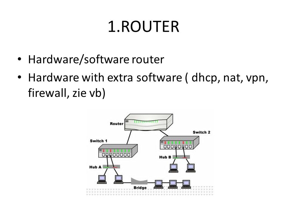 1.ROUTER Hardware/software router Hardware with extra software ( dhcp, nat, vpn, firewall, zie vb)