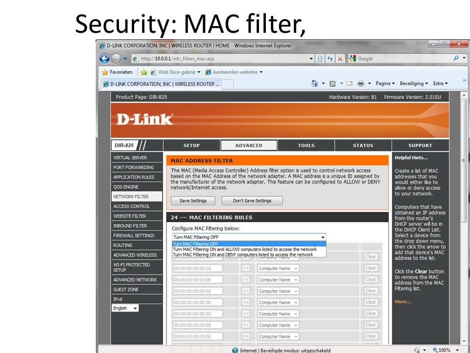 Security: MAC filter,