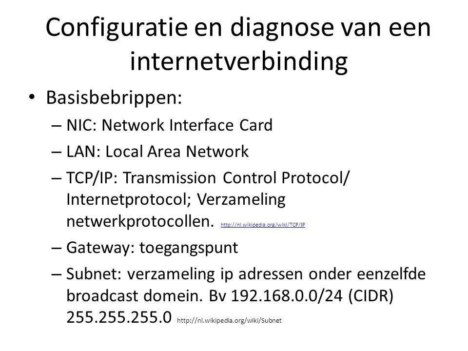 Configuratie en diagnose van een internetverbinding Basisbebrippen: – NIC: Network Interface Card – LAN: Local Area Network – TCP/IP: Transmission Con