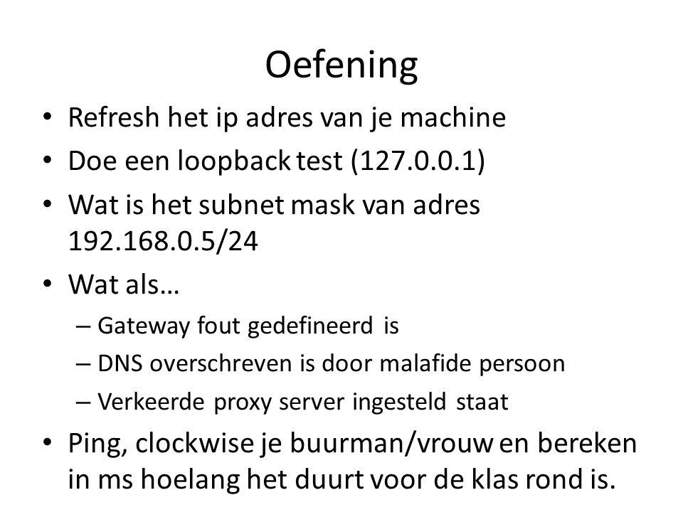 Oefening Refresh het ip adres van je machine Doe een loopback test (127.0.0.1) Wat is het subnet mask van adres 192.168.0.5/24 Wat als… – Gateway fout