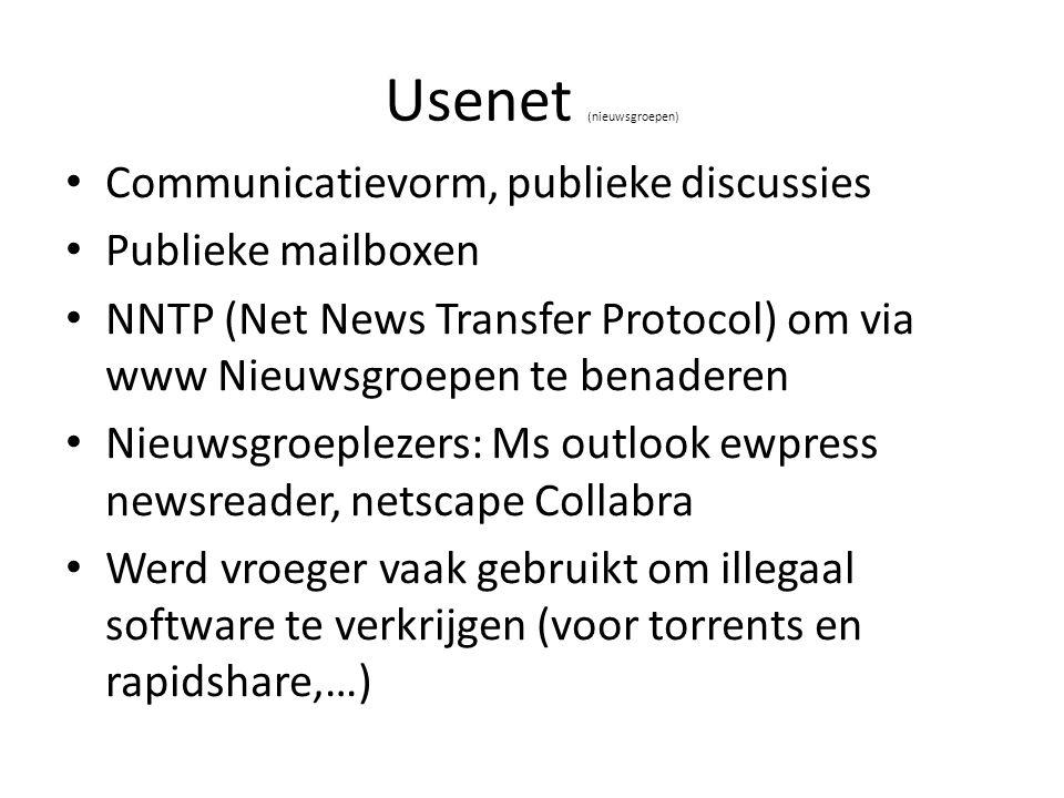 Usenet (nieuwsgroepen) Communicatievorm, publieke discussies Publieke mailboxen NNTP (Net News Transfer Protocol) om via www Nieuwsgroepen te benadere