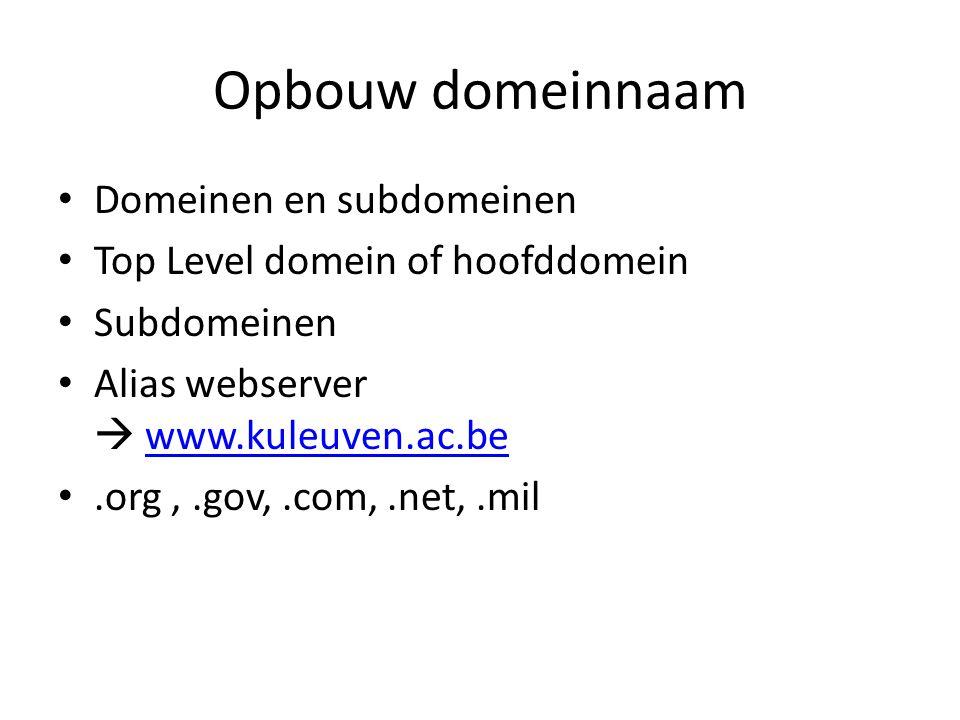 Opbouw domeinnaam Domeinen en subdomeinen Top Level domein of hoofddomein Subdomeinen Alias webserver  www.kuleuven.ac.bewww.kuleuven.ac.be.org,.gov,