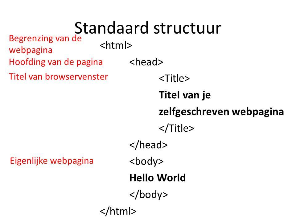 Standaard structuur Titel van je zelfgeschreven webpagina Hello World Begrenzing van de webpagina Hoofding van de pagina Titel van browservenster Eige