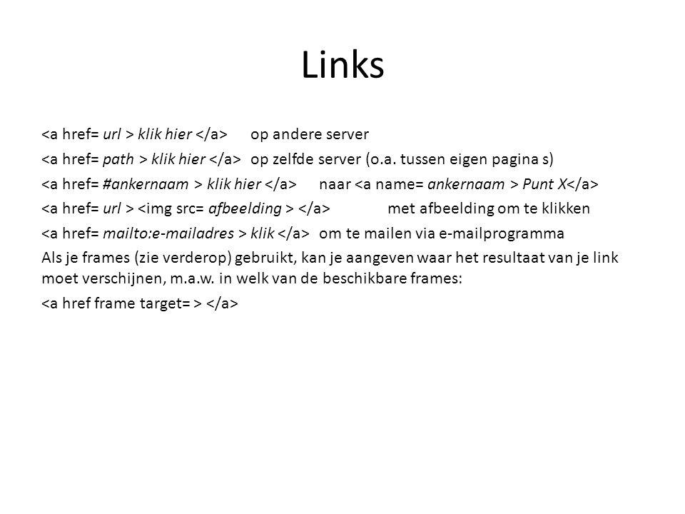 Links klik hier op andere server klik hier op zelfde server (o.a. tussen eigen pagina s) klik hier naar Punt X met afbeelding om te klikken klik om te
