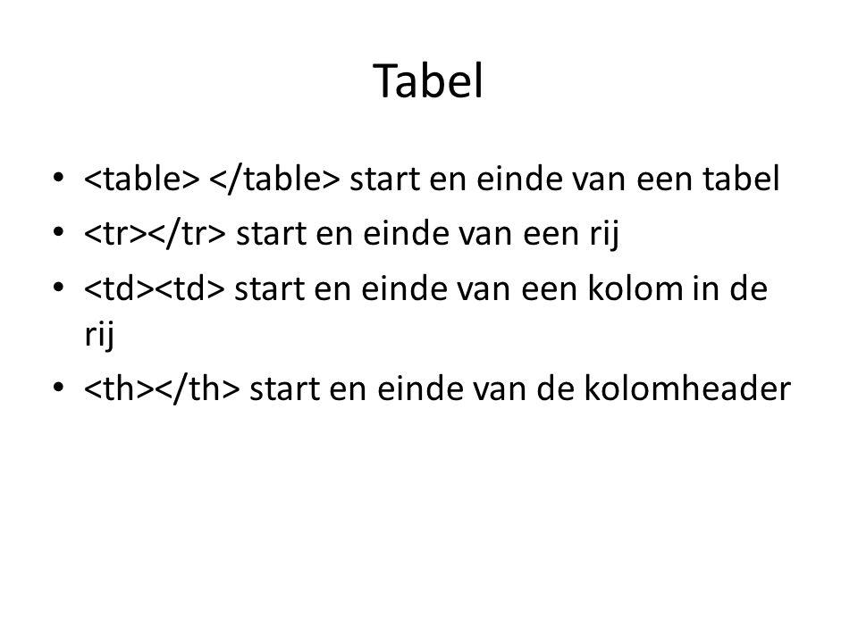Tabel start en einde van een tabel start en einde van een rij start en einde van een kolom in de rij start en einde van de kolomheader