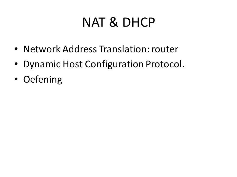 Network Address Translation: router Vertalen van toegekende adressen