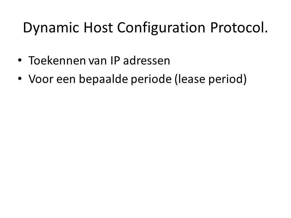 Dynamic Host Configuration Protocol. Toekennen van IP adressen Voor een bepaalde periode (lease period)