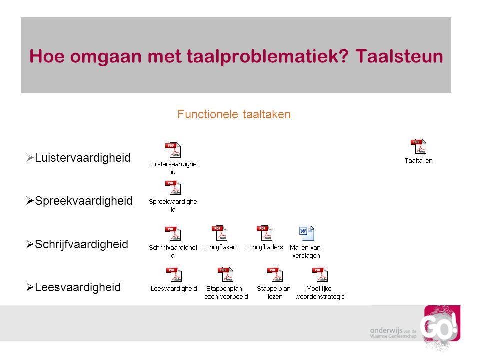 Hoe omgaan met taalproblematiek? Taalsteun Functionele taaltaken  Luistervaardigheid  Spreekvaardigheid  Schrijfvaardigheid  Leesvaardigheid