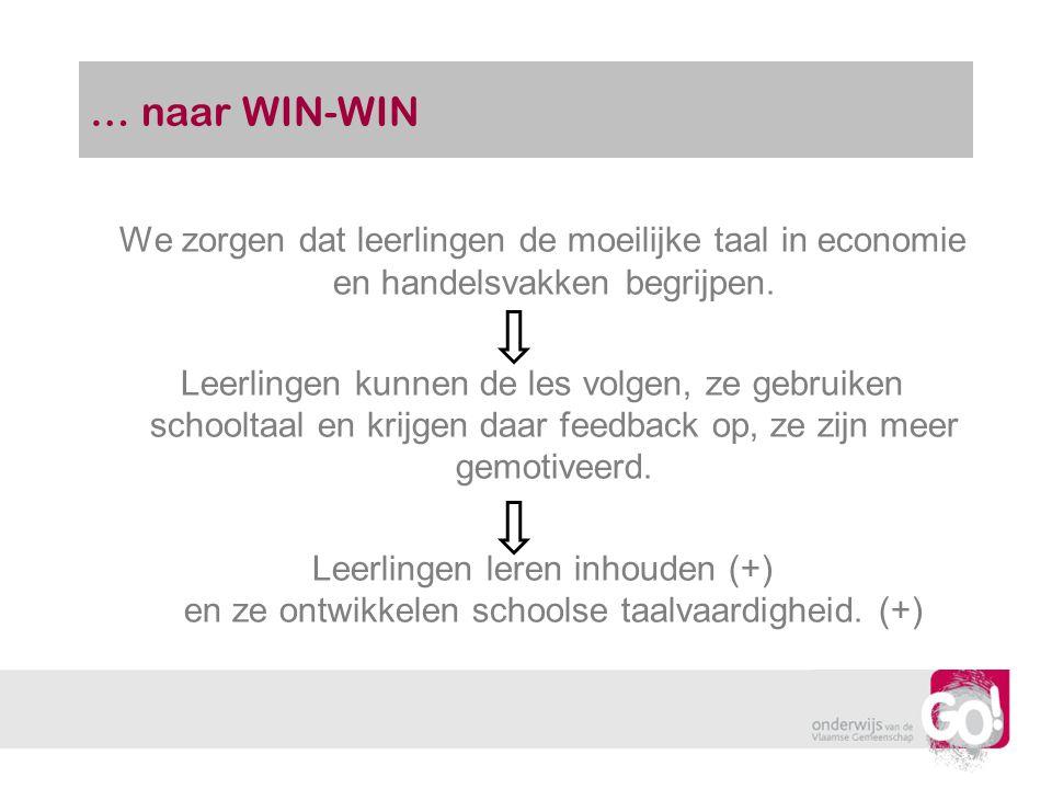 … naar WIN-WIN We zorgen dat leerlingen de moeilijke taal in economie en handelsvakken begrijpen. Leerlingen kunnen de les volgen, ze gebruiken school