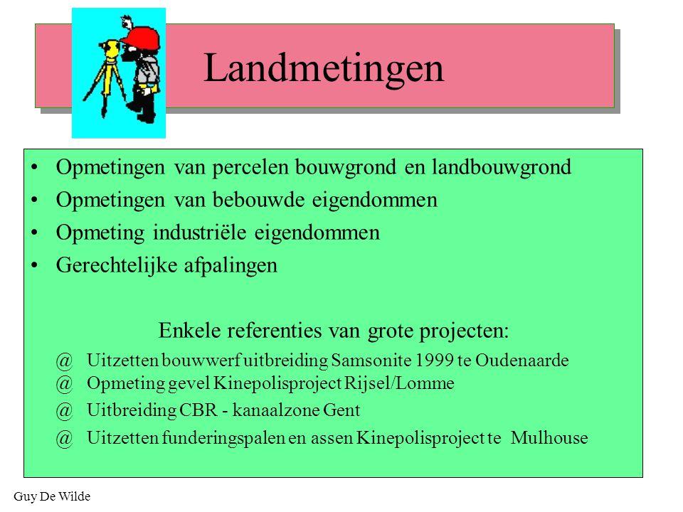 Guy De Wilde Landmetingen Opmetingen van percelen bouwgrond en landbouwgrond Opmetingen van bebouwde eigendommen Opmeting industriële eigendommen Gere