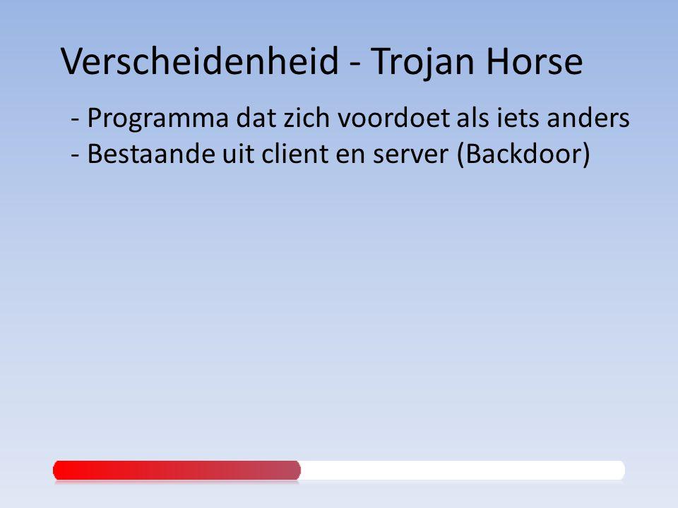 - Programma dat zich voordoet als iets anders - Bestaande uit client en server (Backdoor)