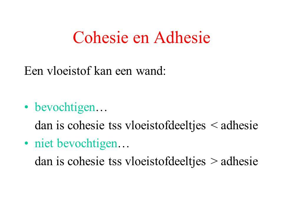 Cohesie en Adhesie Een vloeistof kan een wand: bevochtigen… dan is cohesie tss vloeistofdeeltjes < adhesie niet bevochtigen… dan is cohesie tss vloeistofdeeltjes > adhesie