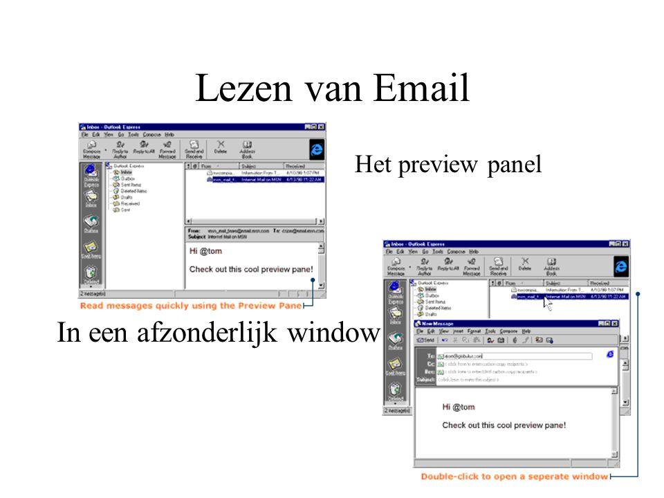 Lezen van Email Het preview panel In een afzonderlijk window