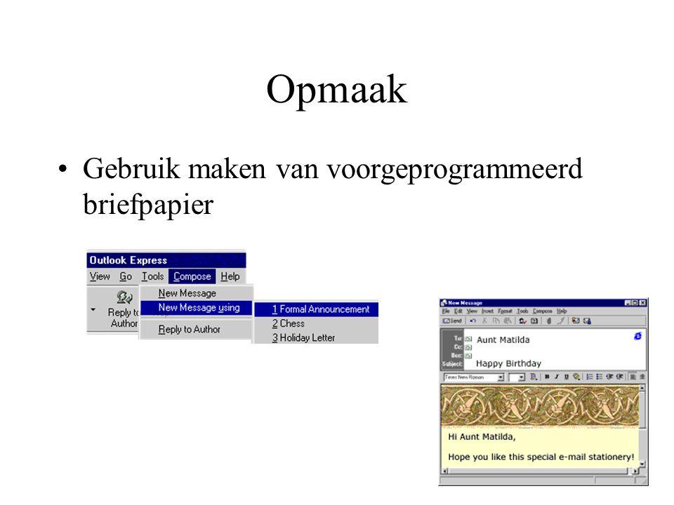 Opmaak Gebruik maken van voorgeprogrammeerd briefpapier