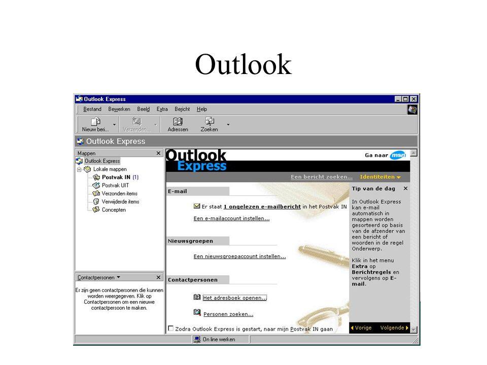 Gebruik van Outlook Verzenden en ontvangen van Email Bijzonderheden Expert: Organiseren van Email Het uitzicht van Outlook bepalen Bijhouden van adresboek