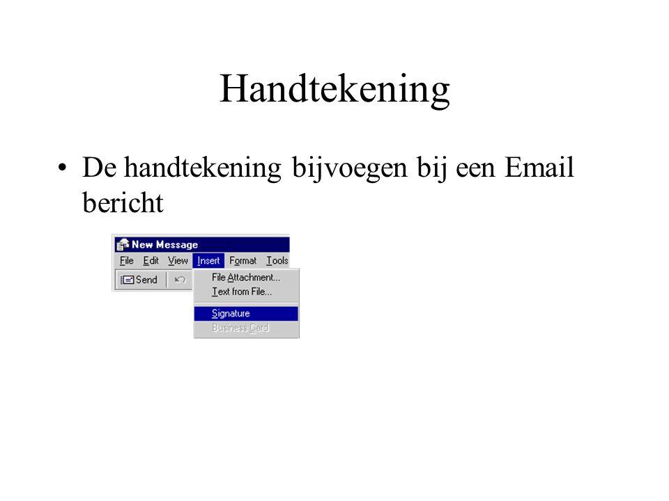 Handtekening De handtekening bijvoegen bij een Email bericht