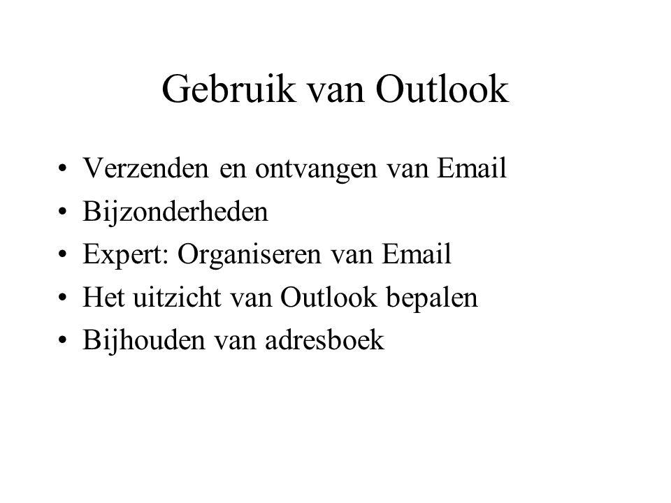Lezen van Email Controleren of er nieuwe berichten zijn: Outlook Express zal nieuwe e-mail berichten downloaden en de lijst tonen in de Inbox.