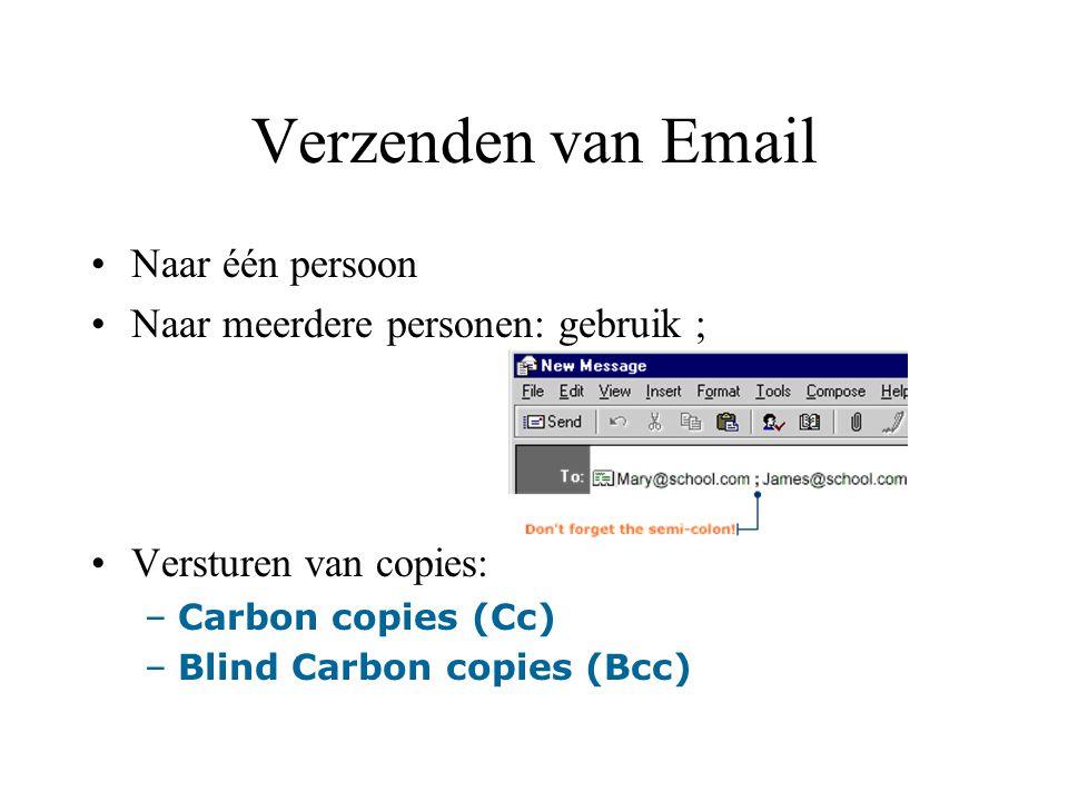 Het copiëren van adressen van ontvangen Emails