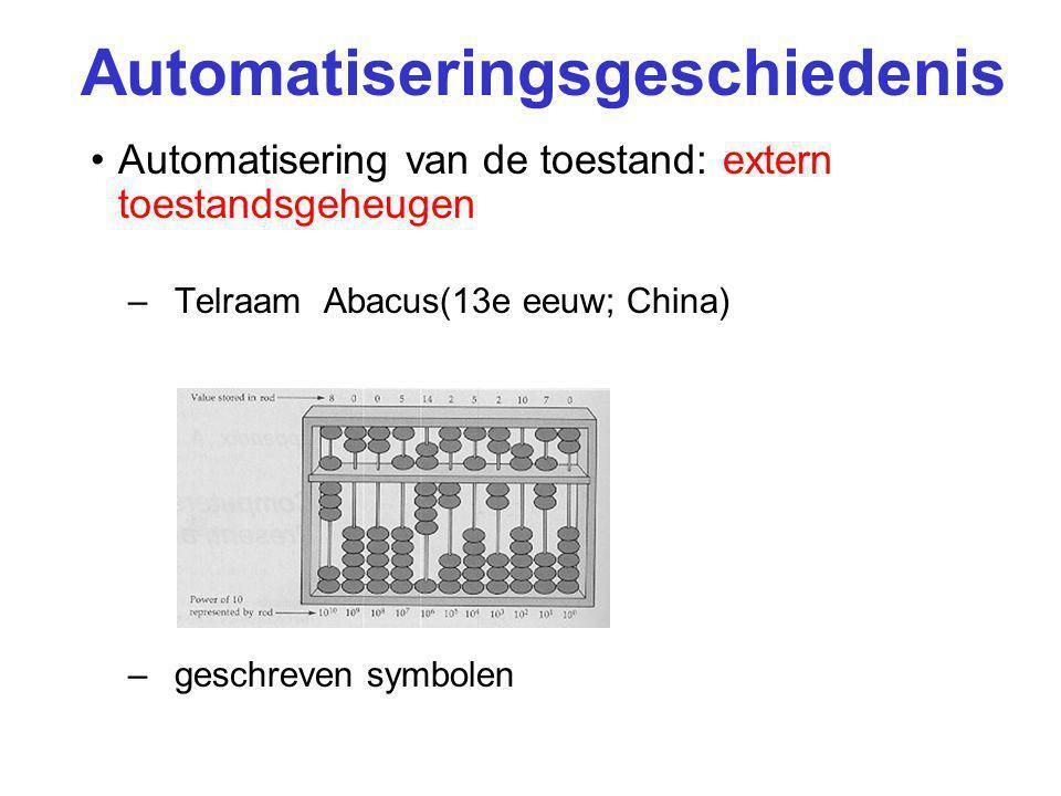 Automatiseringsgeschiedenis Automatisering van de toestand: extern toestandsgeheugen –Telraam Abacus(13e eeuw; China) –geschreven symbolen