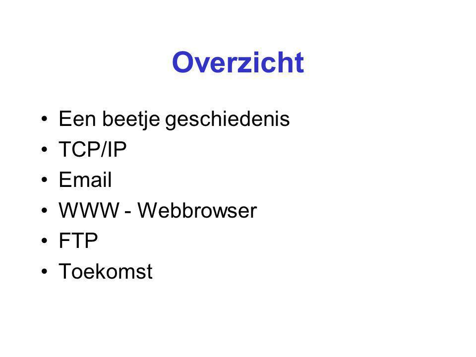 Overzicht Een beetje geschiedenis TCP/IP Email WWW - Webbrowser FTP Toekomst