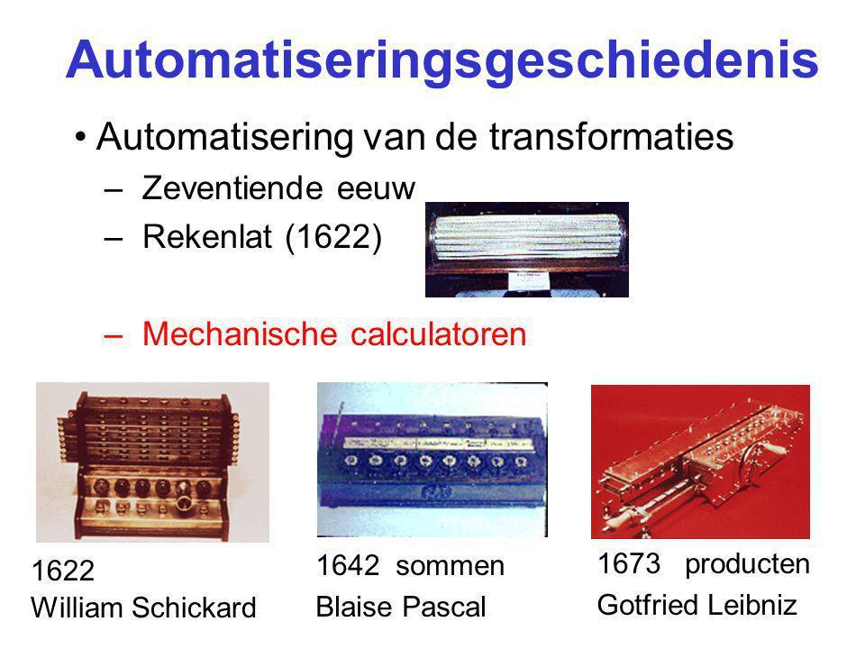 Automatiseringsgeschiedenis Automatisering van de transformaties –Zeventiende eeuw –Rekenlat (1622) –Mechanische calculatoren 1642 sommen Blaise Pascal 1622 William Schickard 1673 producten Gotfried Leibniz