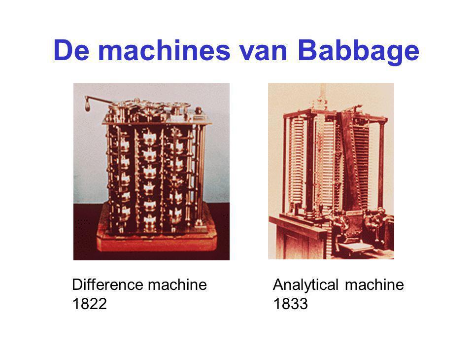 De machines van Babbage Difference machine 1822 Analytical machine 1833