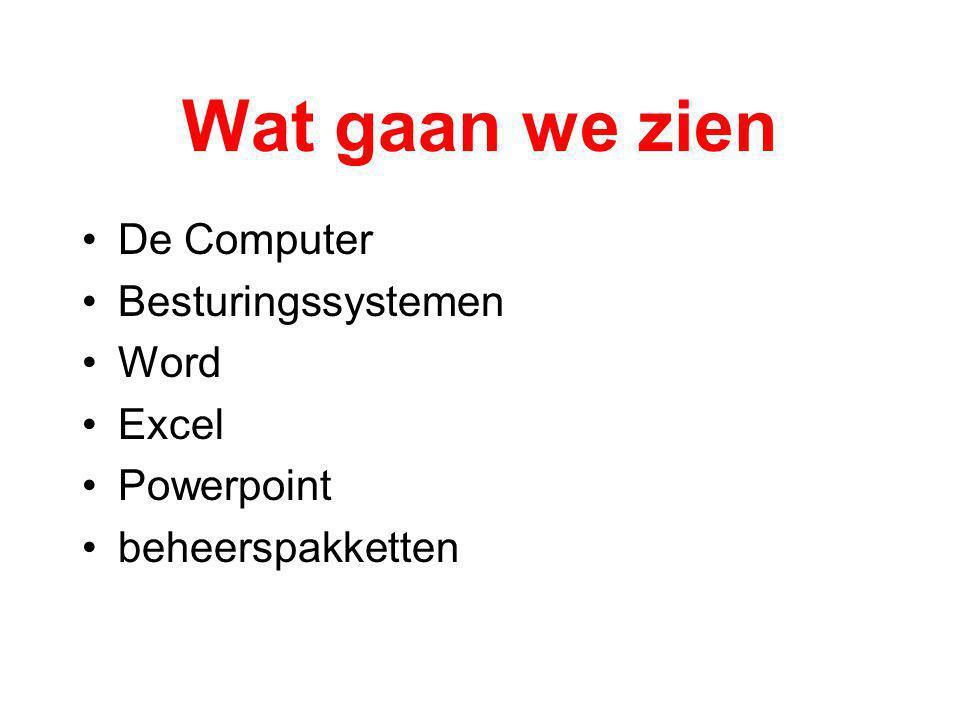 Wat gaan we zien De Computer Besturingssystemen Word Excel Powerpoint beheerspakketten