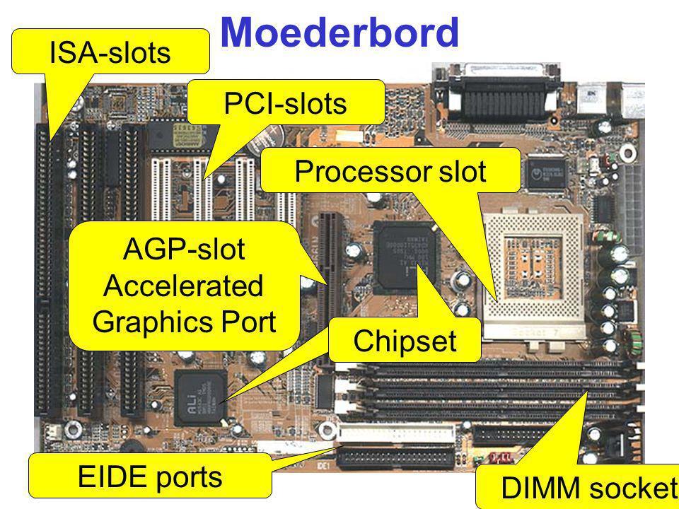 Moederbord ISA-slots PCI-slots AGP-slot Accelerated Graphics Port DIMM sockets Processor slot EIDE ports Chipset