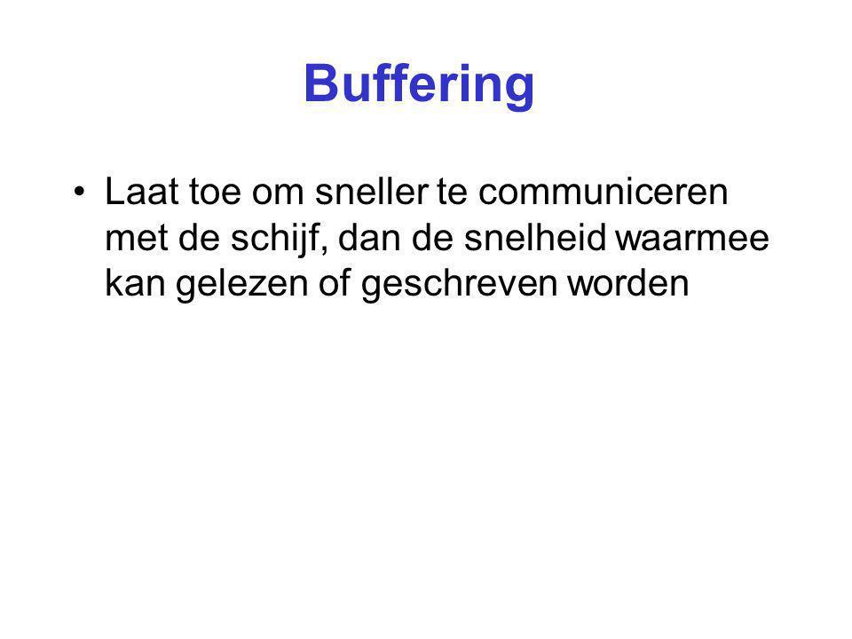 Buffering Laat toe om sneller te communiceren met de schijf, dan de snelheid waarmee kan gelezen of geschreven worden