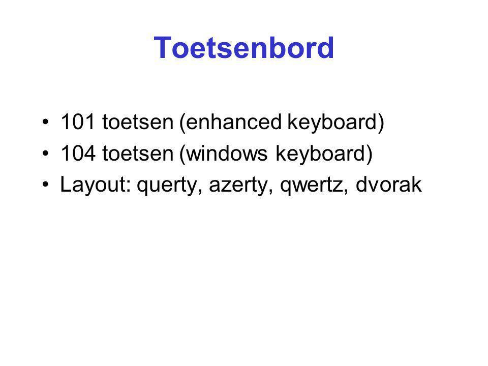 Toetsenbord 101 toetsen (enhanced keyboard) 104 toetsen (windows keyboard) Layout: querty, azerty, qwertz, dvorak