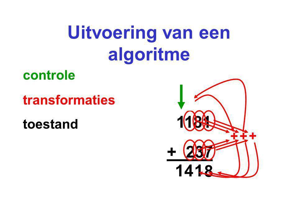 Uitvoering van een algoritme 1181 + 237 + 8 + 1 1 + 4 1 controle transformaties toestand