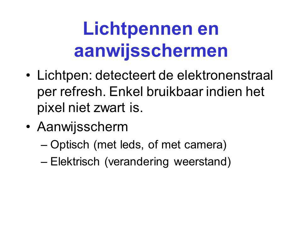 Lichtpennen en aanwijsschermen Lichtpen: detecteert de elektronenstraal per refresh. Enkel bruikbaar indien het pixel niet zwart is. Aanwijsscherm –Op