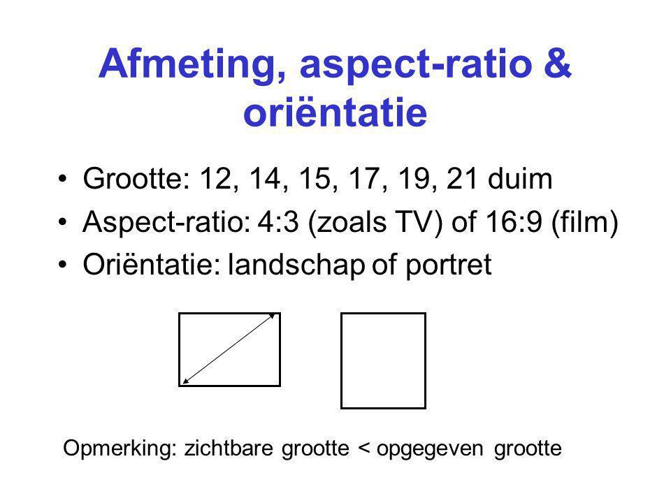 Afmeting, aspect-ratio & oriëntatie Grootte: 12, 14, 15, 17, 19, 21 duim Aspect-ratio: 4:3 (zoals TV) of 16:9 (film) Oriëntatie: landschap of portret Opmerking: zichtbare grootte < opgegeven grootte