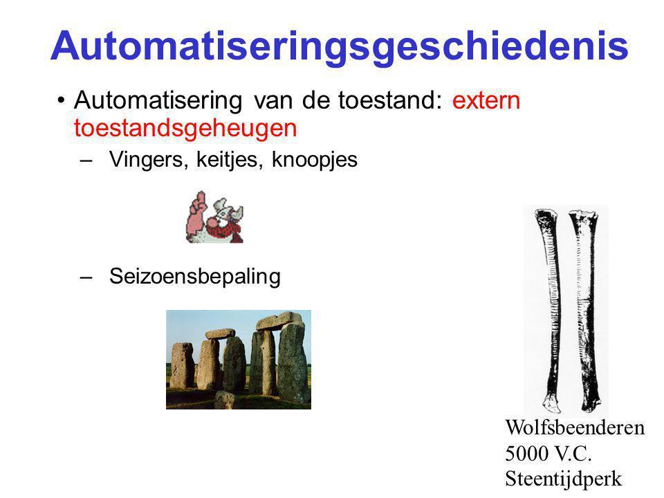 Automatiseringsgeschiedenis Automatisering van de toestand: extern toestandsgeheugen –Vingers, keitjes, knoopjes –Seizoensbepaling Wolfsbeenderen 5000 V.C.