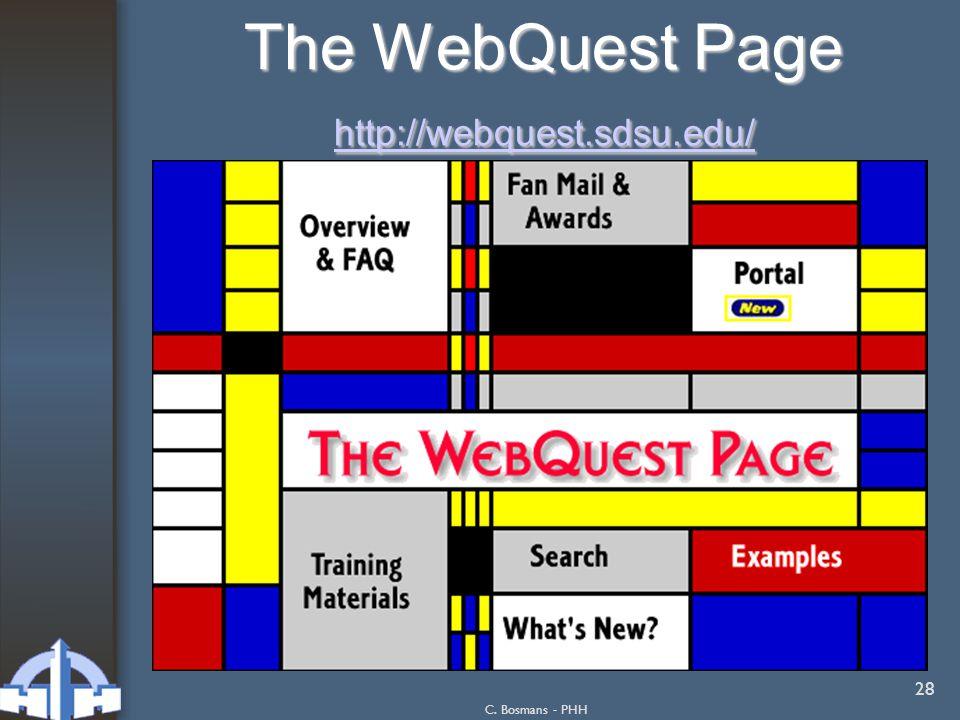 C. Bosmans - PHH 28 The WebQuest Page http://webquest.sdsu.edu/ http://webquest.sdsu.edu/