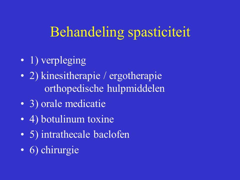 Behandeling spasticiteit 1) verpleging 2) kinesitherapie / ergotherapie orthopedische hulpmiddelen 3) orale medicatie 4) botulinum toxine 5) intrathec