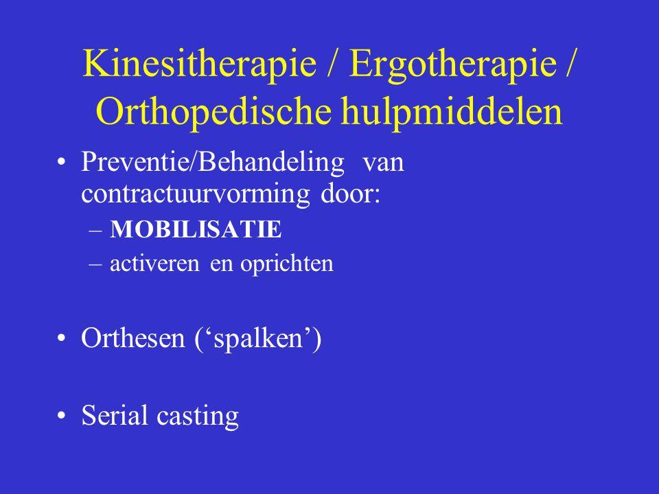 Kinesitherapie / Ergotherapie / Orthopedische hulpmiddelen Preventie/Behandeling van contractuurvorming door: –MOBILISATIE –activeren en oprichten Ort