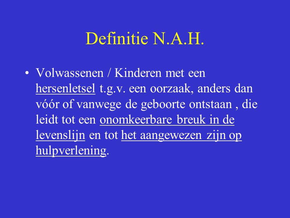 Definitie N.A.H. Volwassenen / Kinderen met een hersenletsel t.g.v. een oorzaak, anders dan vóór of vanwege de geboorte ontstaan, die leidt tot een on