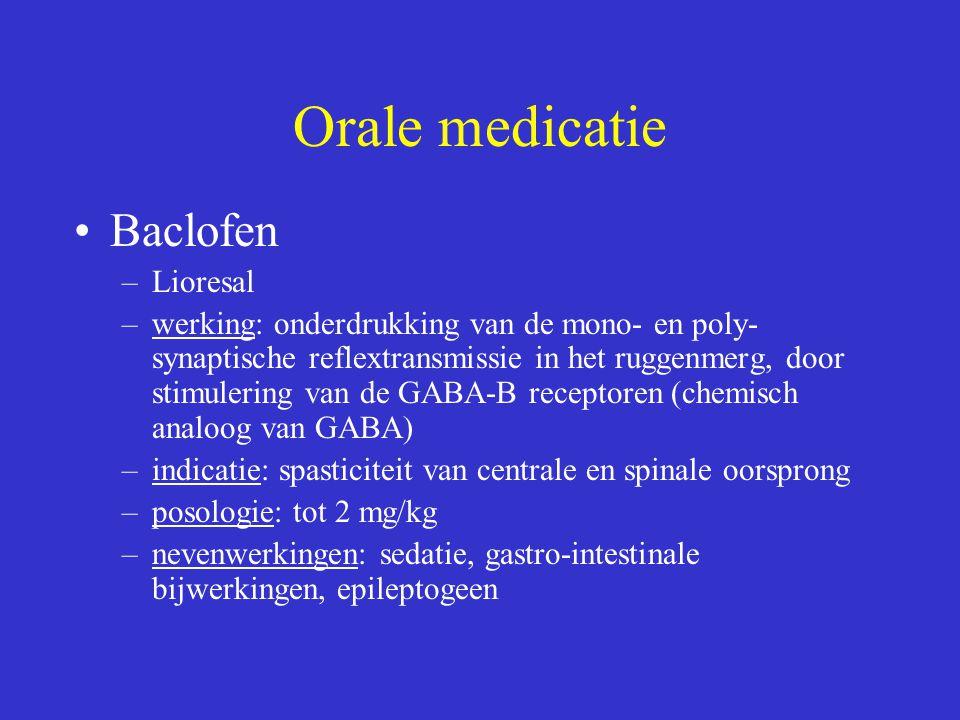 Orale medicatie Baclofen –Lioresal –werking: onderdrukking van de mono- en poly- synaptische reflextransmissie in het ruggenmerg, door stimulering van