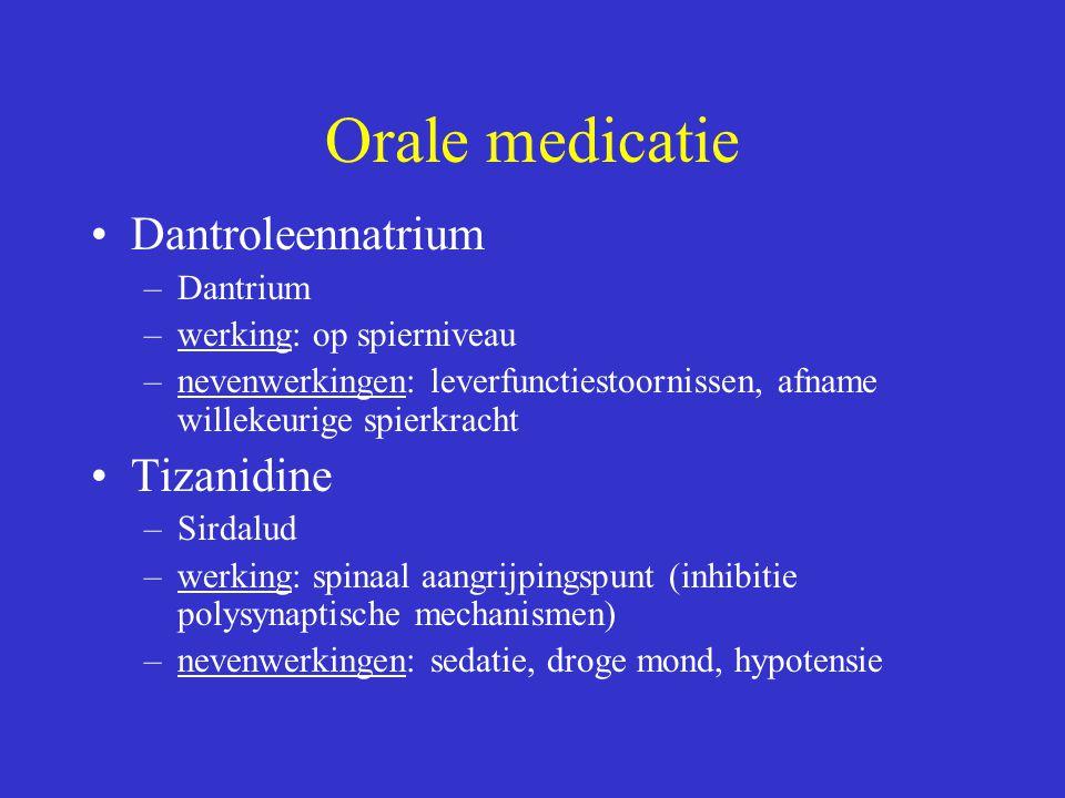 Orale medicatie Dantroleennatrium –Dantrium –werking: op spierniveau –nevenwerkingen: leverfunctiestoornissen, afname willekeurige spierkracht Tizanid