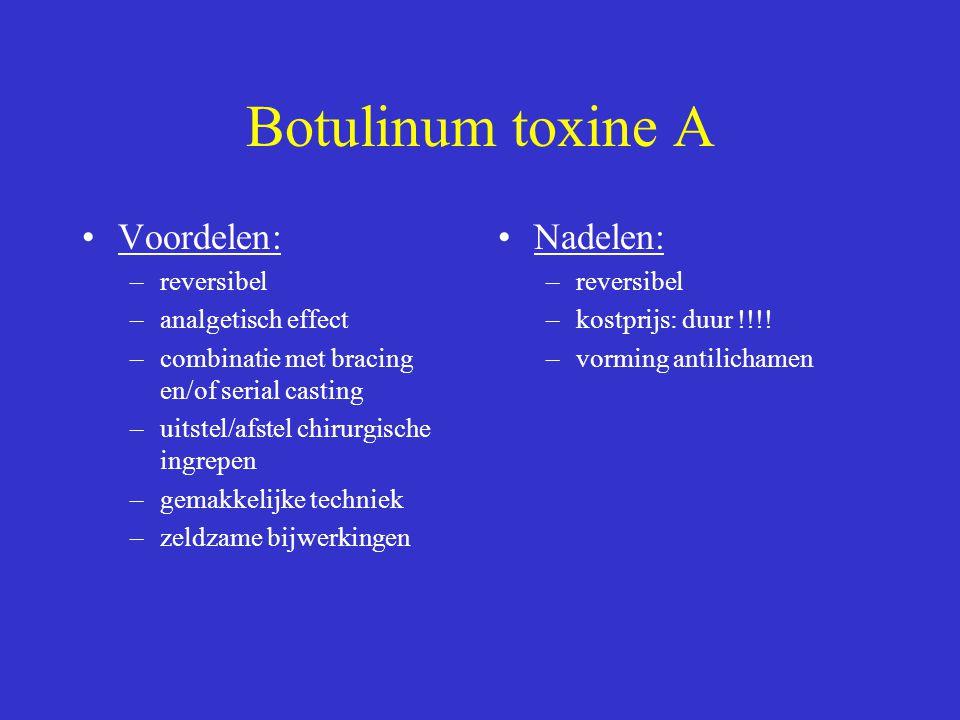 Botulinum toxine A Voordelen: –reversibel –analgetisch effect –combinatie met bracing en/of serial casting –uitstel/afstel chirurgische ingrepen –gema