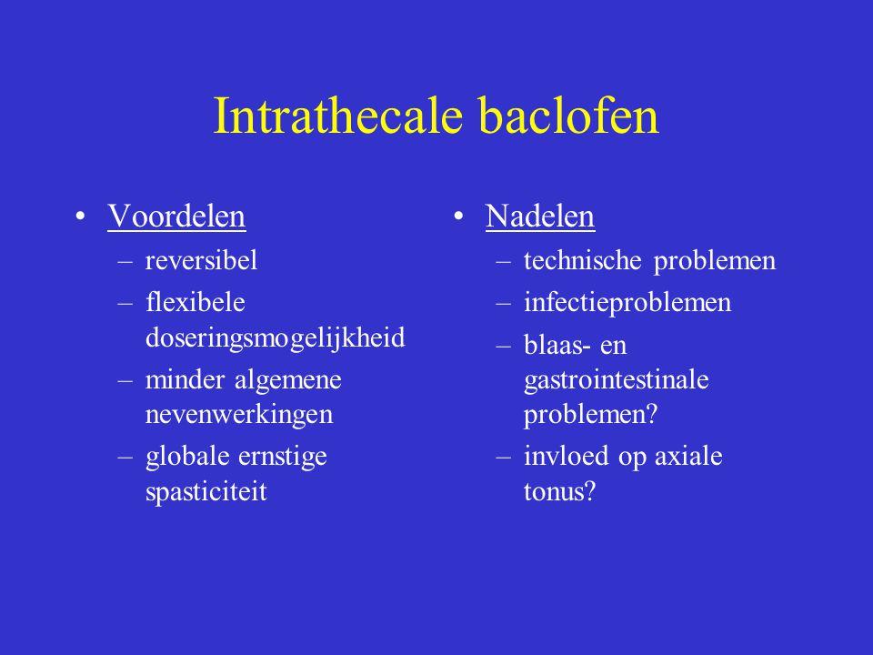 Intrathecale baclofen Voordelen –reversibel –flexibele doseringsmogelijkheid –minder algemene nevenwerkingen –globale ernstige spasticiteit Nadelen –t