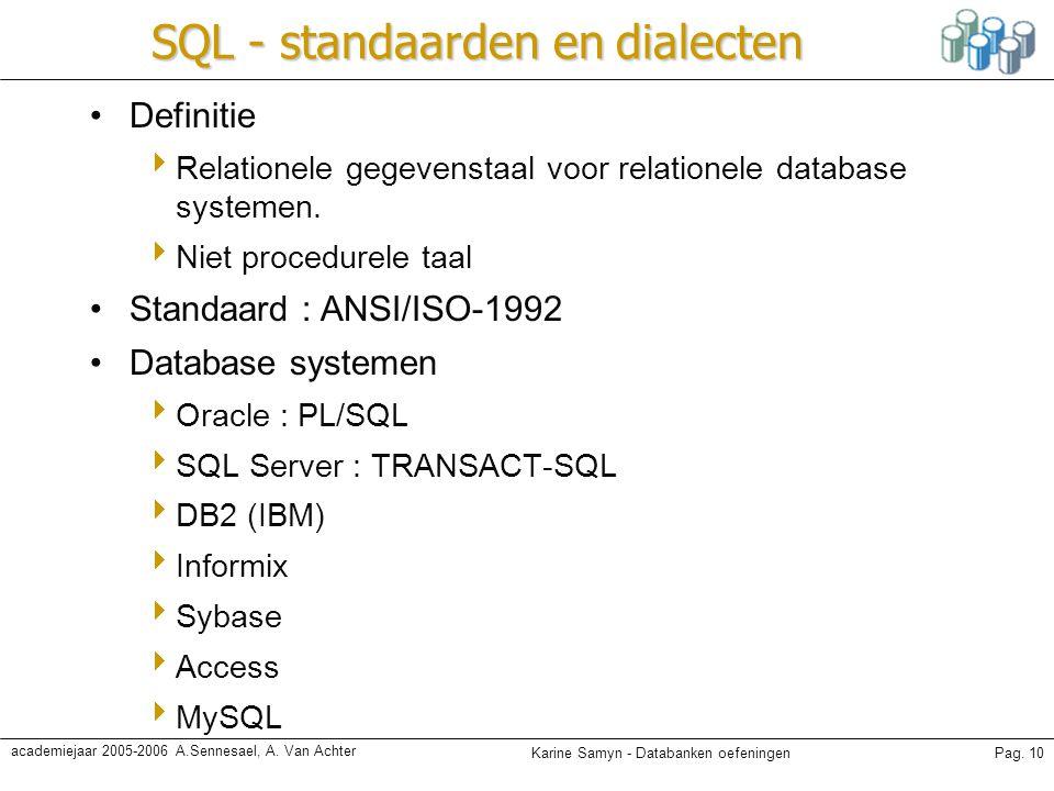 Karine Samyn - Databanken oefeningenPag. 10 academiejaar 2005-2006 A.Sennesael, A. Van Achter SQL - standaarden en dialecten Definitie  Relationele g
