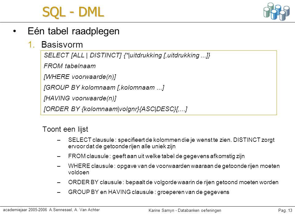 Karine Samyn - Databanken oefeningenPag. 13 academiejaar 2005-2006 A.Sennesael, A. Van Achter SQL - DML Eén tabel raadplegen 1.Basisvorm Toont een lij